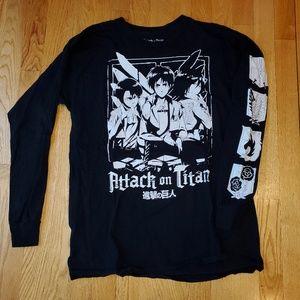 Mens L/S Attack on Titan Anime Cotton T shirt Sz M